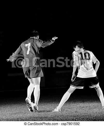 football players in action for the ball - csp7901592