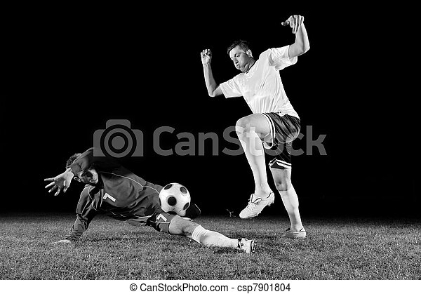 football players in action for the ball - csp7901804