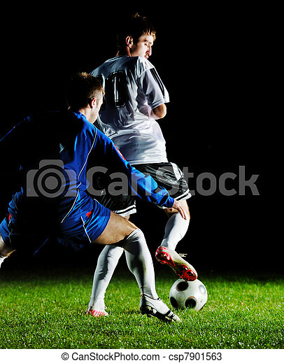 football players in action for the ball - csp7901563