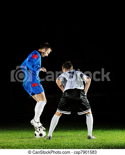 football players in action for the ball - csp7901583