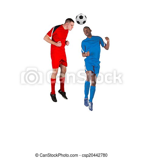 Football players tackling for the ball - csp20442780