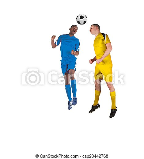 Football players tackling for the ball - csp20442768