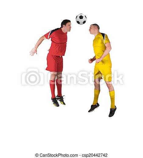 Football players tackling for the ball - csp20442742