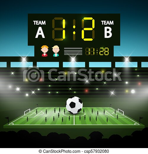 Football Playground with Big Scoreboard. Soccer Stadium with Players Vector Illustration. - csp57932080