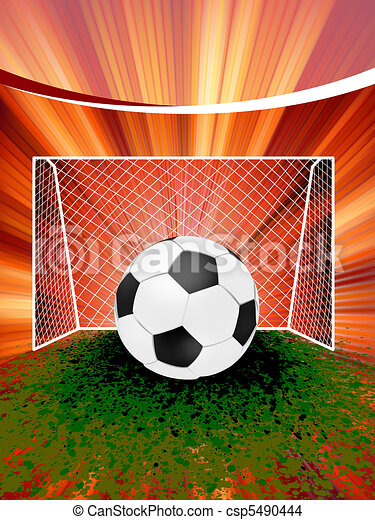 Football poster with soccer ball. EPS 8 - csp5490444