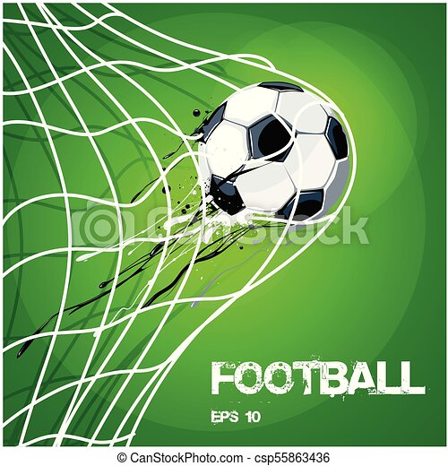 Football Soccer Ball In Net On Gold Vector Image - csp55863436