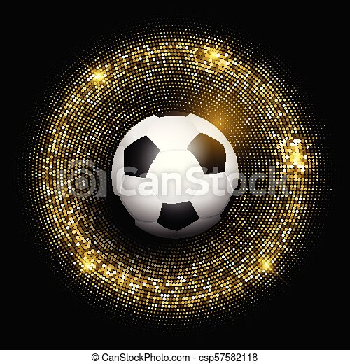 football / soccer ball on glittery gold background 1505 - csp57582118
