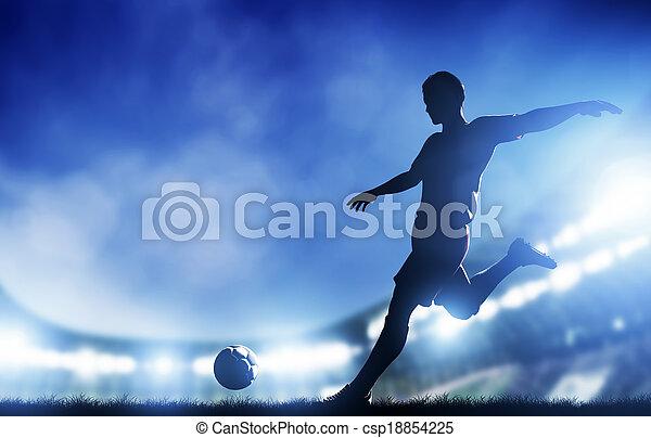 Football, soccer match. A player shooting on goal - csp18854225