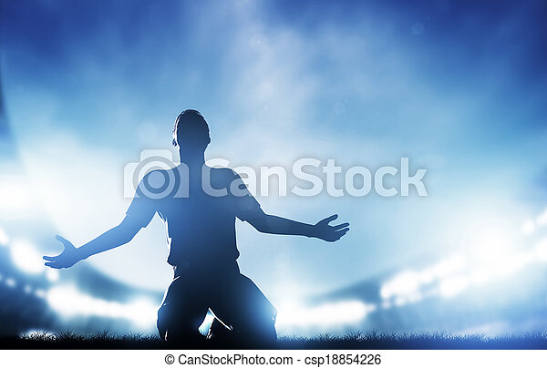 Football, soccer match. A player celebrating goal, victory - csp18854226
