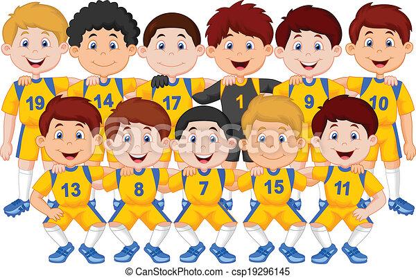 vector illustration of football team cartoon rh canstockphoto com football team clip art pictures eagles football team clipart