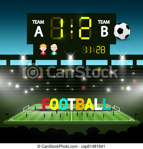 Football Team Match on Soccer Stadium. Evening Vector Sceen with Players and Ball. - csp61481641