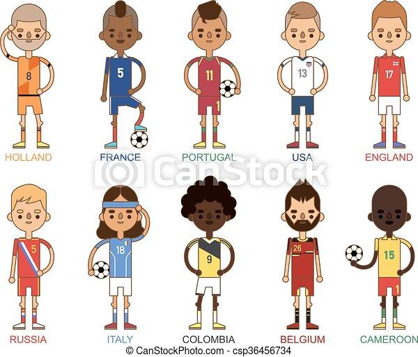 Football team sport soccer players group vector illustration