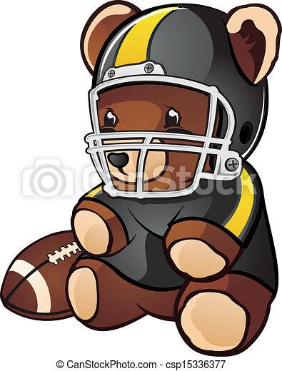 Football Teddy Bear Cartoon - csp15336377