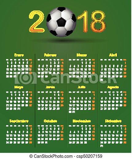 Calendario Calcio Spagnolo.Football Theme Lino Verde 2018 Spagnolo Calendario Calcio Texture