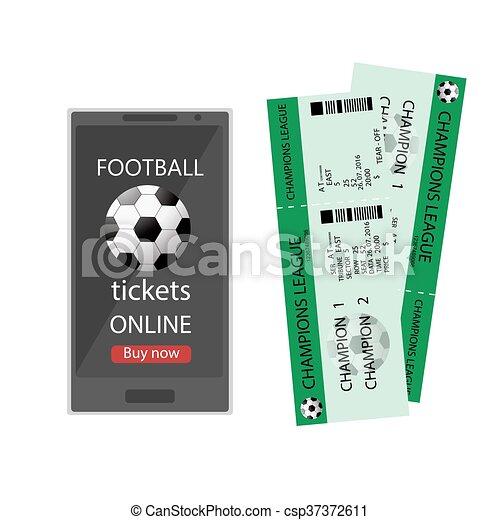 Football ticket online. booking football ticket online via... vector ...