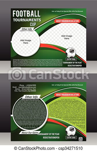 Football Tournament Flyer Template Magazine Design Vector