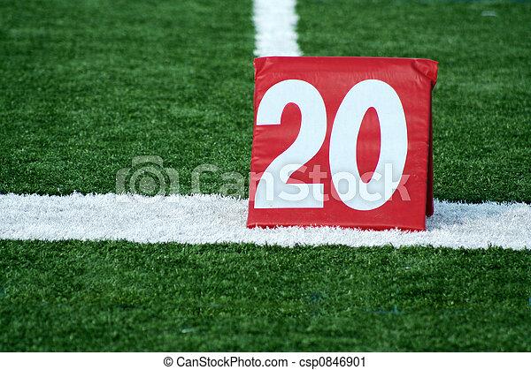 Football twenty yard marker - csp0846901