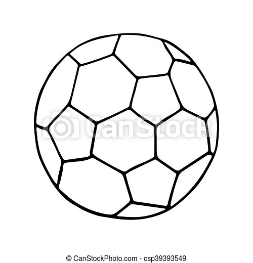 football vector icon soccer ball outlined on white background