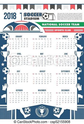 Calendario Calcio.Football Vettore 2018 Sagoma Calendario Calcio