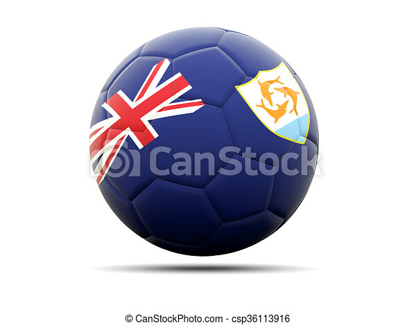 Football with flag of anguilla - csp36113916