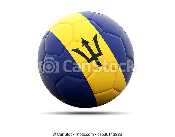 Football with flag of barbados - csp36113926