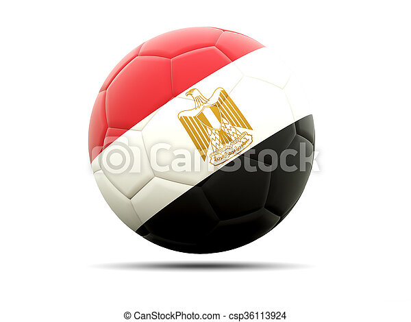 Football with flag of egypt - csp36113924