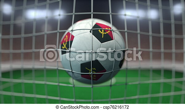Football with flags of Angola hits goal net. 3D rendering - csp76216172