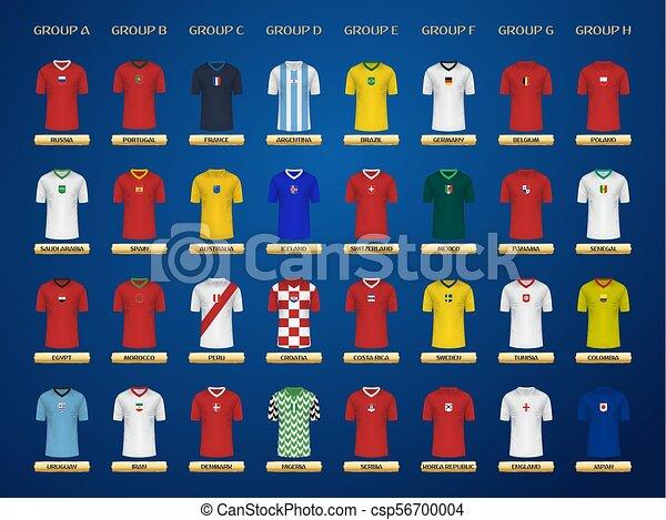 d7d8d8c2c Football world championship jerseys. 2018 soccer groups. vector jersey  collection.