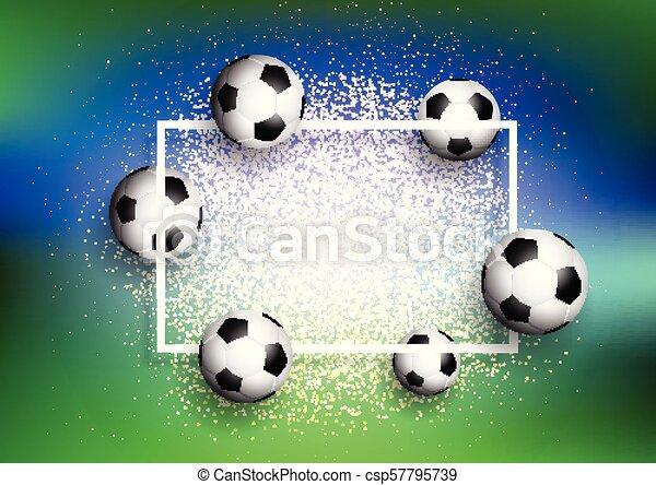 footballs on glitter background with white frame 1505 - csp57795739