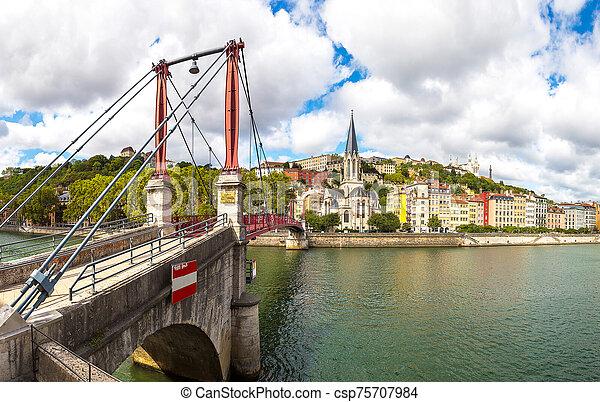 Footbridge in Lyon, France - csp75707984