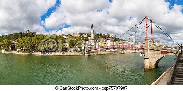 Footbridge in Lyon, France - csp75707987