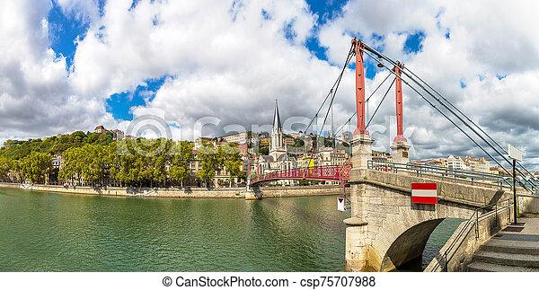 Footbridge in Lyon, France - csp75707988