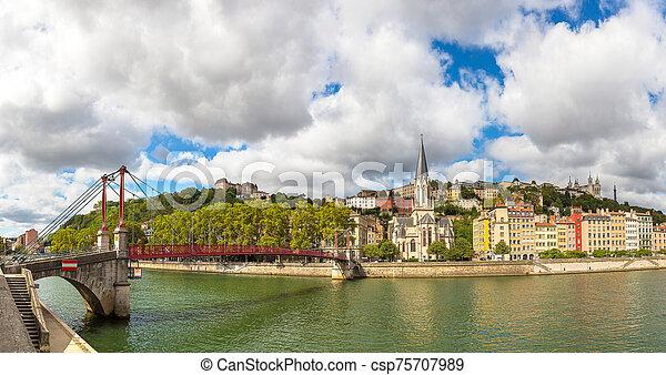 Footbridge in Lyon, France - csp75707989