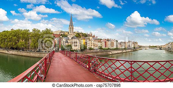 Footbridge in Lyon, France - csp75707898