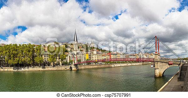 Footbridge in Lyon, France - csp75707991