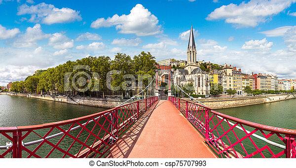 Footbridge in Lyon, France - csp75707993
