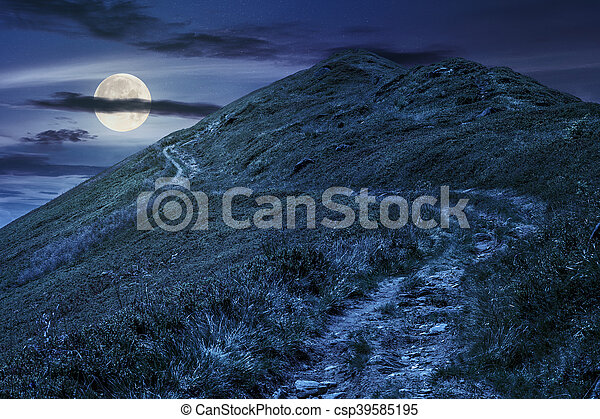 footpath to the mountain top at night - csp39585195
