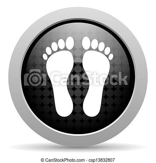 footprint black circle web glossy icon - csp13832807