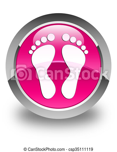 Footprint icon glossy pink round button - csp35111119