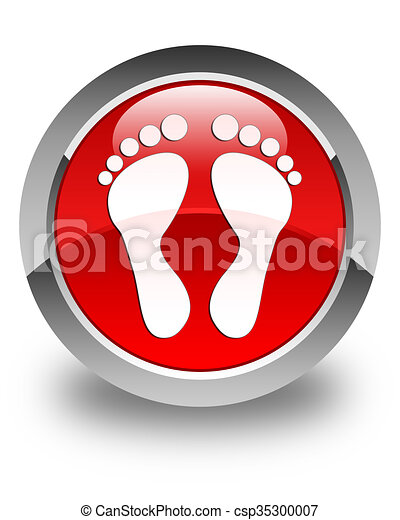 Footprint icon glossy red round button - csp35300007