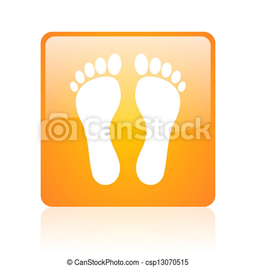 footprint orange square glossy web icon - csp13070515
