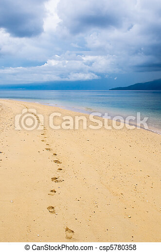 footprints in a tropical beach - csp5780358