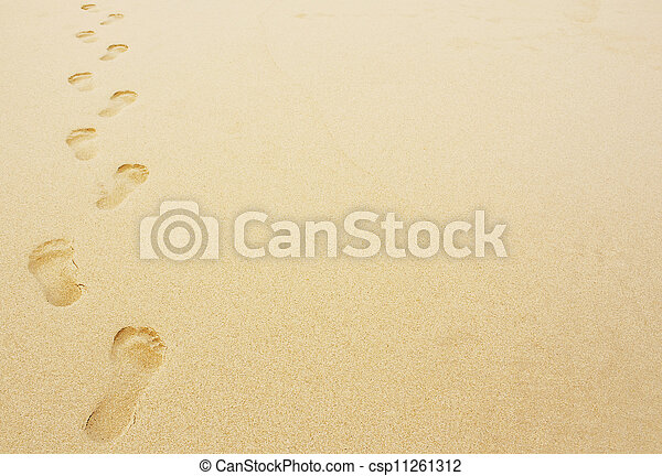 footprints in the sand background - csp11261312