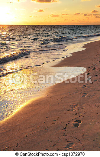 Footprints on sandy beach at sunrise - csp1072970
