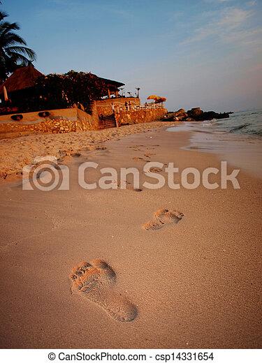 Footprints on the beach. - csp14331654