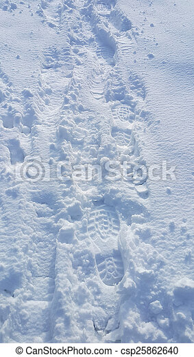 Footsteps on the snow - csp25862640