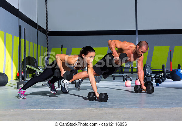 força, ginásio, push-up, mulher, pushup, homem - csp12116036