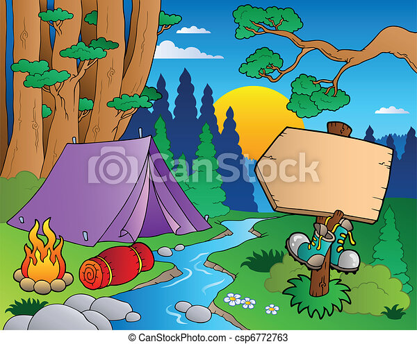 forêt, dessin animé, paysage, 6 - csp6772763