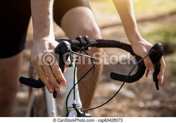 forêt, jeune, équitation, cycliste - csp60428073