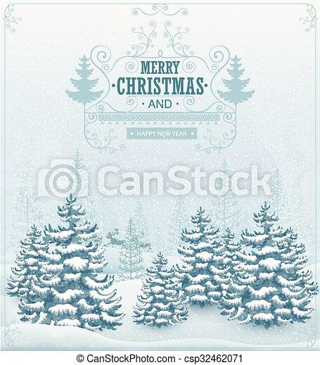 forêt, paysage, hiver - csp32462071